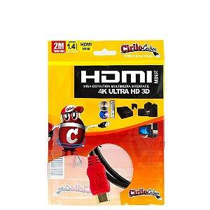 Cabo MINI HDMI para HDMI 1.4 Ultra HD 3D, 2 metros
