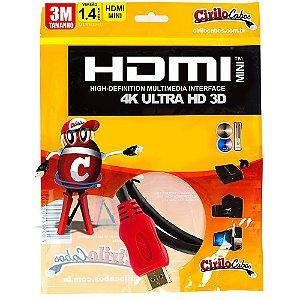 Cabo MINI HDMI para HDMI 1.4 Ultra HD 3D, 3 metros