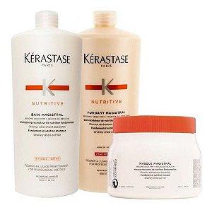 Kit Kerastase Nutritive Magistral Shampoo 1 Litro + Condicionador 1 Litro + Mascara 500ml