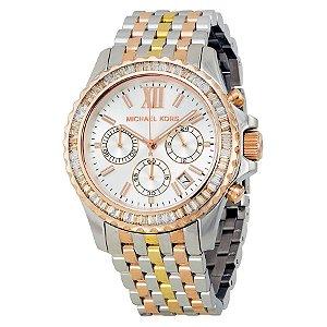 Relógio Feminino Michael Kors MK5876 Everest Chronograph Silver Dial Tri-tone Ladie