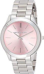 Relógio Feminino Michael Kors MK3380 Slim Prata Fundo Rose