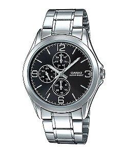 Relógio Unissex Casio Modelo MTP-V301D-1AUDF Prata Fundo Preto