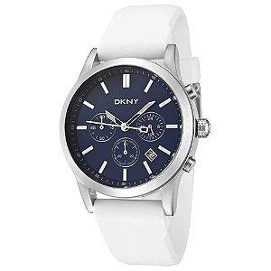 Relógio Masculino Donna Karan New York 1476 Branco Fundo Azul