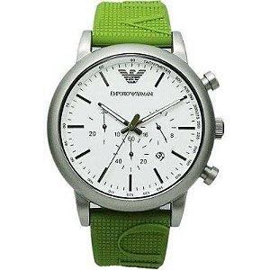 Relógio Masculino Emporio Armani AR11022 pulseira Verde Fundo Branco