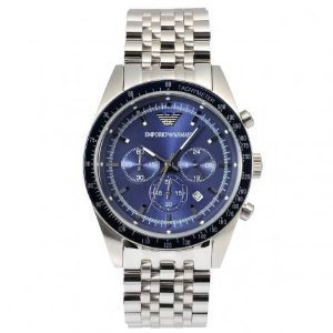 Relógio Masculino Empório Armani AR6072 Prata Fundo Azul