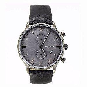 Relógio Masculino Emporio Armani AR0388 Couro Fundo Cinza