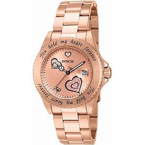 Relógio Feminino Invicta Angel 14734 Ouro Rose