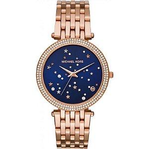 Relógio Feminino Michael Kors MK3728 Rose Fundo Azul Cravejado