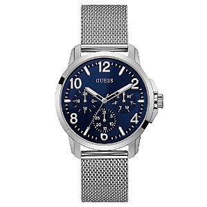 Relógio Masculino Guess AÇO W1040G1 Prata Fundo Azul