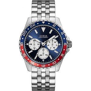 Relógio Masculino Guess W1107G2 Prata Fundo Azul