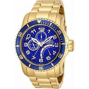 Relógio Masculino invicta Pro Diver 15342 Dourado Fundo Azul