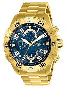 Relógio Masculino invicta S1 Rally 26095 Dourado Fundo Azul