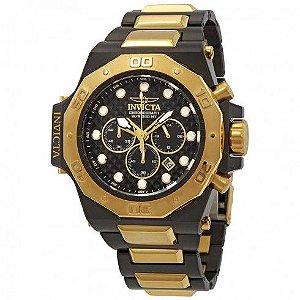 Relógio Masculino invicta Akula 23100 Plaque Ouro Cronógrafo Calendário