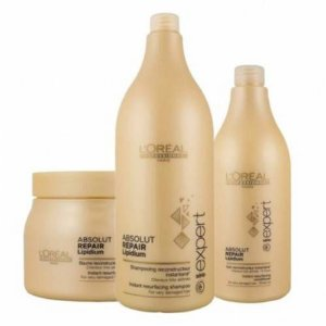 Kit Loreal Absolut Repair Lipidium Shampoo & Condicionador 1,500 Litros + Mascara 500ml