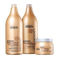 Kit Nutrifier Loréal Professionnel Shampoo & Condicionador 1,500 Litros + Mascara 500ml