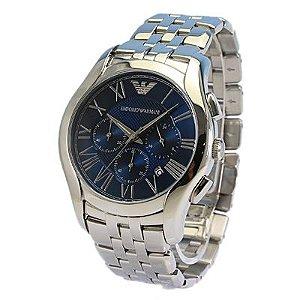 Relógio Masculino Empório Armani AR1787 Prata Fundo Azul