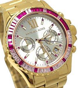 Relógio Feminino Michael kors MK5871 Everest Cristais Pink