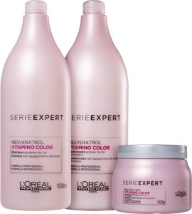 Kit L'Oréal Professionnel Serieexpert Resveratrol Vitamino Color Shampoo 1500ml + Condicionador 1500ml + Mascara 500ml