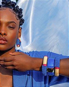 Bracelete Vitória Régia Fúcsia e Azul - Zâmbia