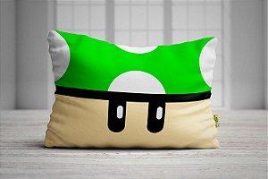 Fronha Travesseiro Super Mario Bros Cogumelo Verde