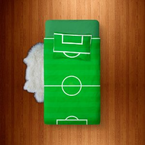 Lençol Solteiro e fronha Campo de Futebol