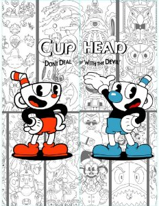 Cortina Game Cuphead com Cuphead e Mugman