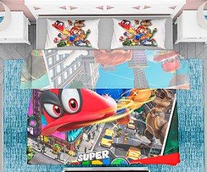 Lençol e fronha Super Mario Bros Odyssey