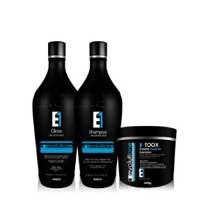 Kit Escova Progressiva Afro Evolutione (2x400ml) com Botox Evolutione