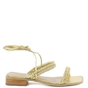 Sandália salto bloco macrame tiras de amarrar Cláudia Mourão Dourada