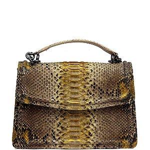 Bolsa de Python Cláudia Mourão (AT5594) Lezard Amarelo