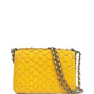Bolsa de Python Cláudia Mourão (BH3894) Amarelo