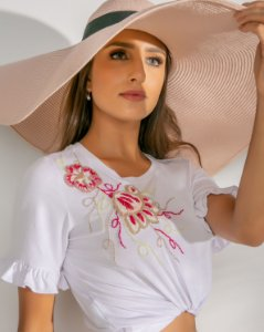 T-Shirt Bordada (BO3341) Branco