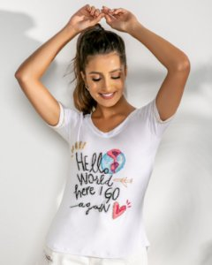 T-Shirt Bordada (BO3741) Branco