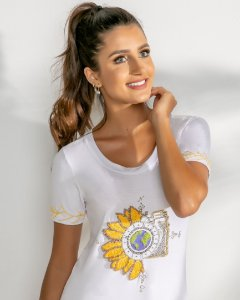 T-Shirt Bordada (BO3841) Branco