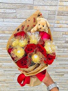 Buquê  de Rosas e Ferrero Rocher