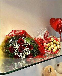 Buquê 6 Rosas & Ferrero