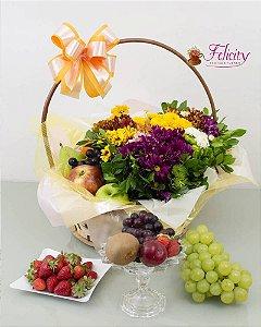 Cesta  Frutas e Flores