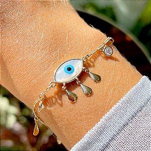 Pulseira Olho Grego Madrepérola Zircônias & Gotas Folheado Ouro Amarelo 18k