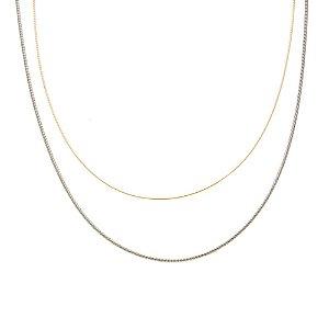 Colar Corda de Violão Duplo Folheado a Ródio + Ouro Amarelo 18k