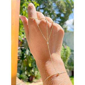 Pulseira de Mão Zircônias Folheado Ouro Amarelo 18k