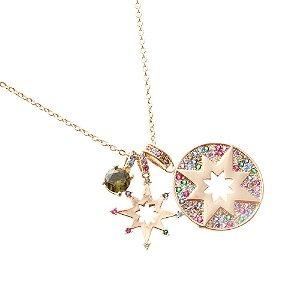 Colar Medalha Estrela Rainbow Folheado Ouro Amarelo 18k
