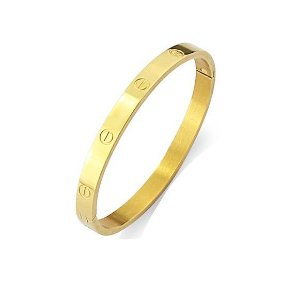Bracelete Detalhes C Grosso Folheado Ouro Amarelo 18k