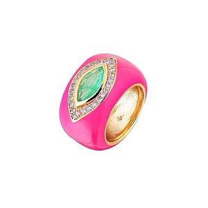 Anel Olho Esmeralda Fusion Esmaltado Pink Folheado Ouro Amarelo 18k