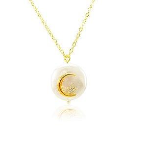 Colar Pérola Barroca Lua & Estrela com Microzircônias Folheado Ouro 18K