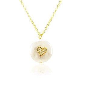 Colar Pérola Barroca Coração com Microzircônia Folheado Ouro 18K