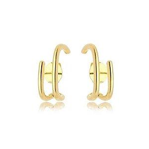 Brinco Ear Hook Liso Vazado Folheado Ouro Amarelo 18k