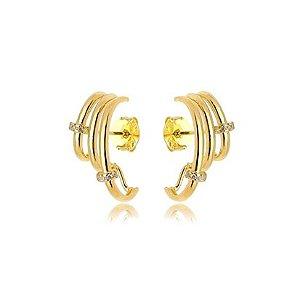 Brinco Ear Hook 3 Fileiras e Microzircônias Folheado Ouro Amarelo 18k