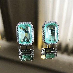Brinco Retangular Esmeralda Fusion com Microzircônias em Prata925