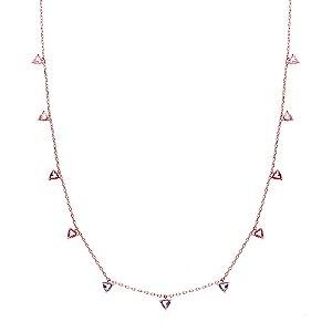 Colar Triângulos Coloridos Folheado Ouro Rosé 18k