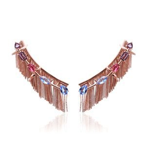 Brinco Ear Cuff Franjas com Cristais Coloridos Folheado Ouro Rosé 18k